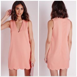 MISSGUIDED | BLUSH PINK SCALLOPED HEM SHIFT DRESS